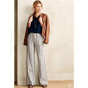 Anthro | Pilcro Striped Linen Wide Leg Trousers
